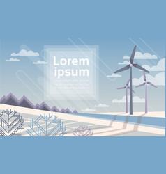 Wind turbine tower in winter snow field vector