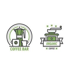 coffee badge logo food design thin line lettering vector image