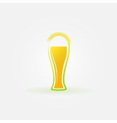 Glass of beer with ear of wheat logo vector image