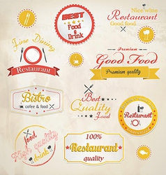 Retro styled restaurant labels vector image vector image