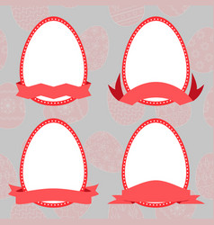 Set easter eggs with ribbon vector