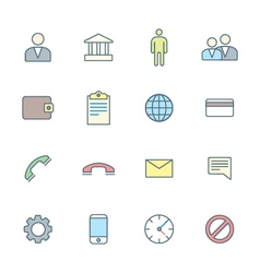 colored outline various social network icons set vector image
