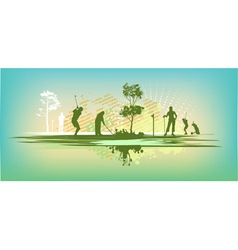 green blot golf club Silhouettes vector image