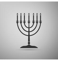 Hanukkah menorah icon on grey background vector image