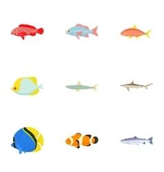 Ocean fish icons set cartoon style vector image vector image
