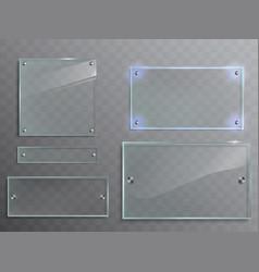 set of transparent glass plates panels vector image