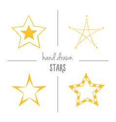 set of yellow hand drawn stars vector image