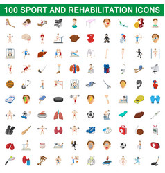 100 sport and rehabilitation set cartoon style vector