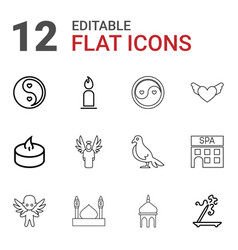 12 religion icons vector image