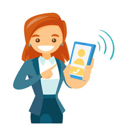 a woman holding a smartphone vector image