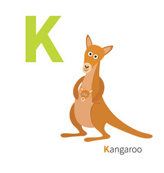 Abc english alphabet letter k kangaroo mom with vector