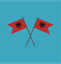 albania flag icon in flat design vector image