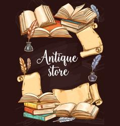 Antique books shop vintage sketch poster vector