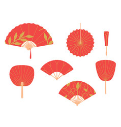 asian fans red hand traditional fan set isolated vector image