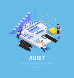 Audit accounting isometric composition vector