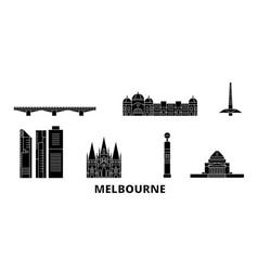 australia melbourne flat travel skyline set vector image