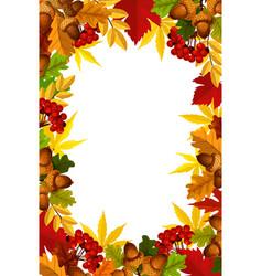 Autumn frame fall season leaf acorn and berry vector