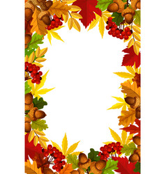 Autumn frame of fall season leaf acorn and berry vector