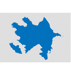 azerbaijan map - high detailed blue map with vector image