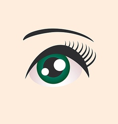 Beautiful green female eye on beige background vector