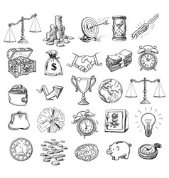 big business symbols set sketch style vector image