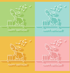 birthday card with a rabbit on a skateboard vector image