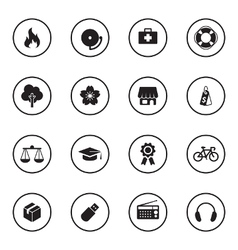 black flat safety and miscellaneous icon set vector image