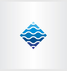 blue wave tech abatract logo symbol element vector image