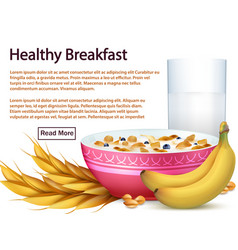 breakfast banner template with cereals realistic vector image