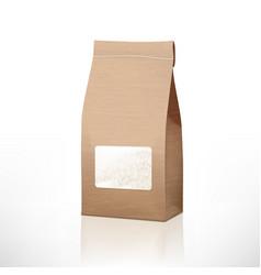 Brown craft paper rice bag packaging vector
