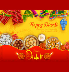 Burning diya with assorted sweet and snack on vector