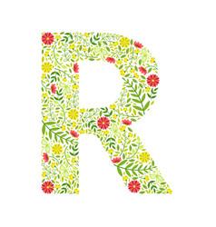 capital letter r green floral alphabet element vector image