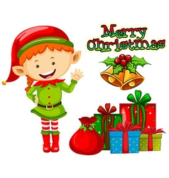 Christmas theme with elf and presents vector