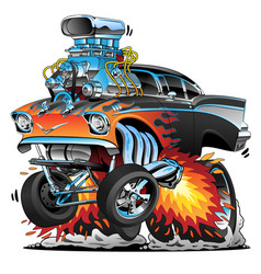 classic hot rod fifties style muscle car cartoon vector image