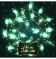 Colorful Green Glowing Christmas Lights elements vector image