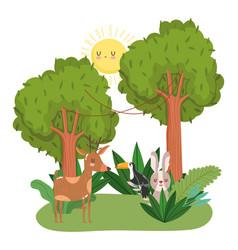 cute animals reindeer toucan and rabbit grass vector image