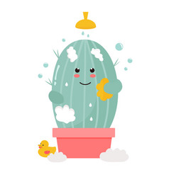 Cute cactus taking shower vector