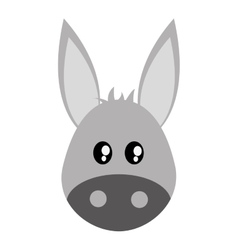 cute donkey cartoon icon vector image