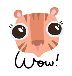 cute tiger head with big eyes on white background vector image