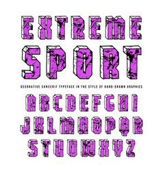 Decorative sanserif bulk font vector