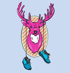 Deer head cartoon pink deer vector