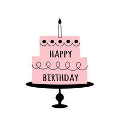 doodle cake and happy birthday isolated on white vector image