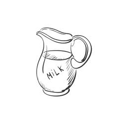 Doodle jug milk vector