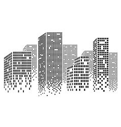 Dotted skyscrapers vector