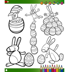 Easter cartoons for coloring book vector