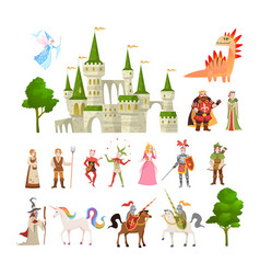 Fairytale characters fantasy medieval magic vector