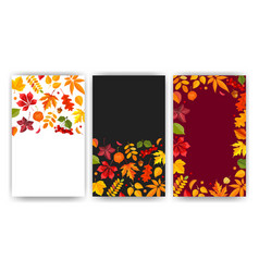fall typography backgrounds set with place vector image