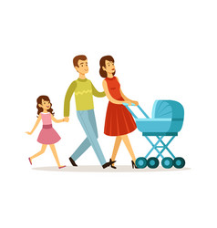 family walking mother father daughter baby vector image