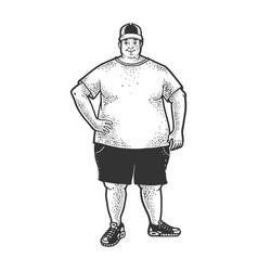 Fat man sketch vector