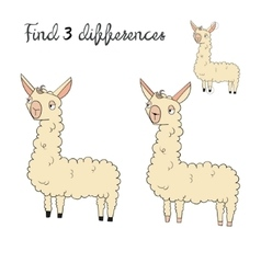 Find differences kids layout for game lama vector image